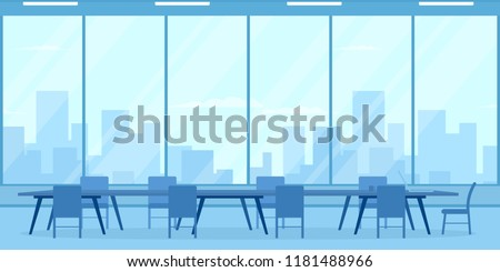 empty conference room with big window. Vector illustration