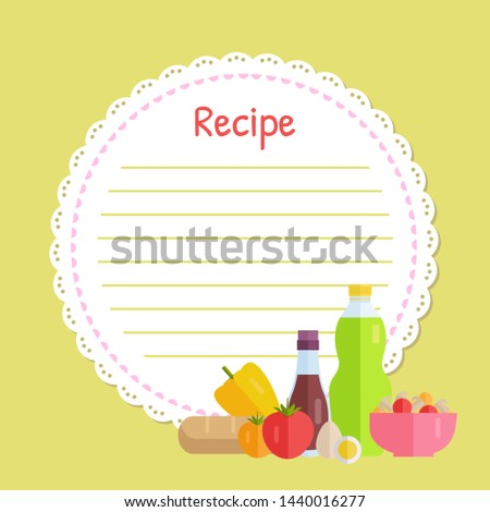 Empty cookbook decorated by bottles of drink, bowl with mushrooms, bread and egg, tomato and pepper, vegetables flat design style, yellow recipe vector