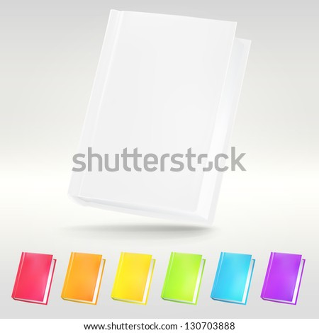 Empty copyspace notebook cover as contacts or address book illustration, eps10 vector design template set in seven colors