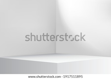 Empty Corner In The Room. The Inner Space Of White Room. Interior Background Mock Up. Simple White, Grey Vector Background With Empty Studio Table, Stage, Room.