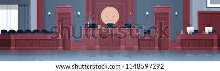 Empty courtroom with judge and secretary workplace, jury box seats modern courthouse interior justice and jurisprudence concept horizontal banner ストックフォト ©