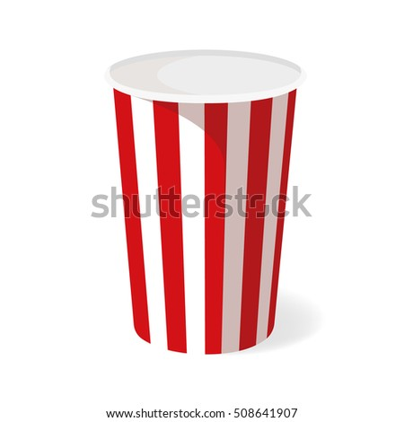 Empty cup of popcorn. Vector Popcorn bucket isolated on white background.