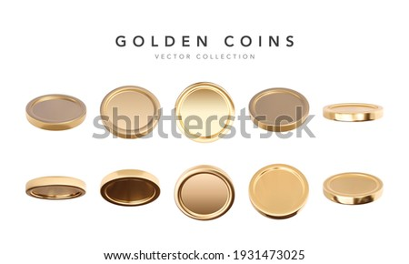 Empty 3d gold coins set isolated on white background in different positions. Rain of golden coins. Bingo jackpot or casino poker or win element. Cash treasure concept. Vector illustration