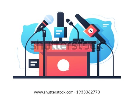 Empty debate and negotiation microphone stand icon. Isolated concept communication equipment on bubble speech background. Vector illustration. Photo stock ©