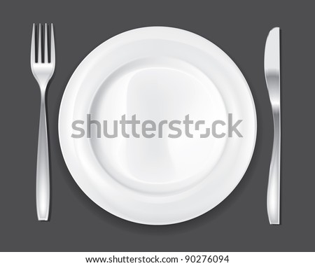 Empty dinner plate, drawing the knife and fork set