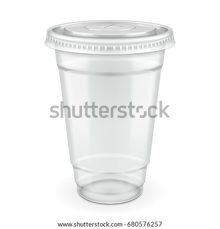 Empty Disposable Plastic Cup With Lid. Transparent Container For Cold, Hot Drink. Juice Fresh, Coffee, Tea, Milkshake. Illustration Isolated On White Background Mock Up Template Ready For Your Design.