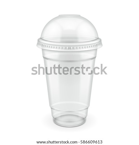 Empty Disposable Plastic Milkshake Cup With Lid. Transparent. Container For Cold, Hot Drink. Juice Fresh, Coffee, Tea. Illustration Isolated On White Background Mock Up Template Ready For Your Design.