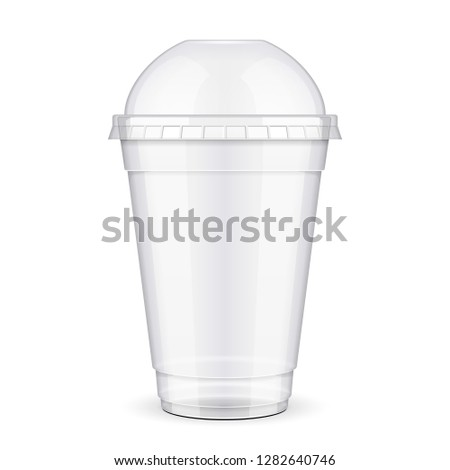 Empty Disposable Plastic Paper Carton Cup With Lid. Transparent Container For Cold, Hot Drink. Juice Fresh, Coffee, Tea, Milkshake. Illustration Isolated On White Background Mock Up Template. Vector