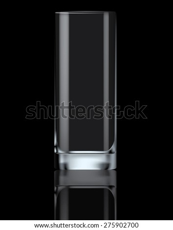 empty drinking glass on black