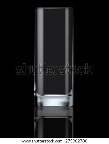 empty drinking glass on black
