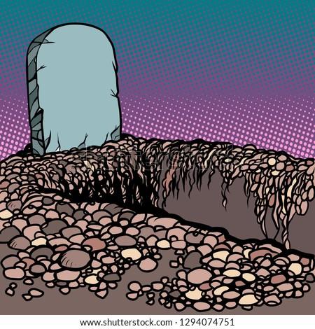 empty dug grave cemetery