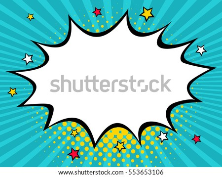 Empty dynamic comic speech bubble with dots and stars. Vector colorful background in pop art retro comic style.