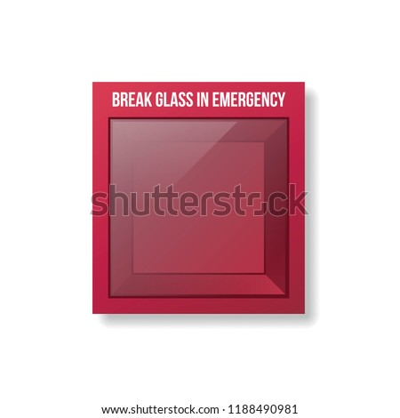 Empty Emergency Box. Glass emergency box.