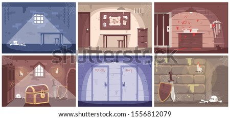 Empty escape room flat vector illustrations set. Labyrinth, prison cell. Getting out of trap, searching solution, crime investigation, solving mysteries. Quest room game. Modern entertainment Stock photo ©