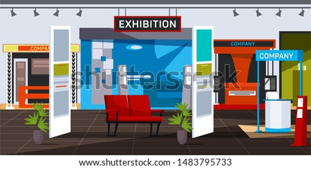 Empty exhibition centre flat vector illustration. Corporate exposition hall interior with no people. Various promotional stands and counters with sign boards. Company product presentation, marketing