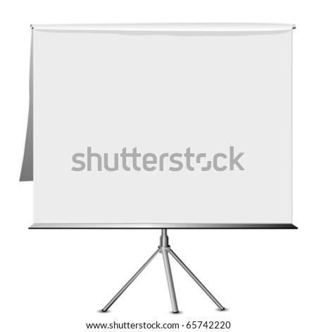 Empty flip chart on a tripod
