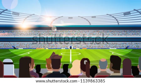 empty football stadium field silhouettes of fans waiting match rear view flat horizontal vector illustration