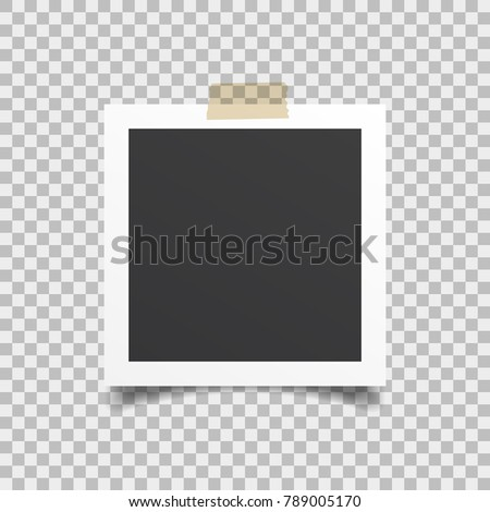 Empty frame of photo with realistic drop shadow isolated on transparent background. EPS10.