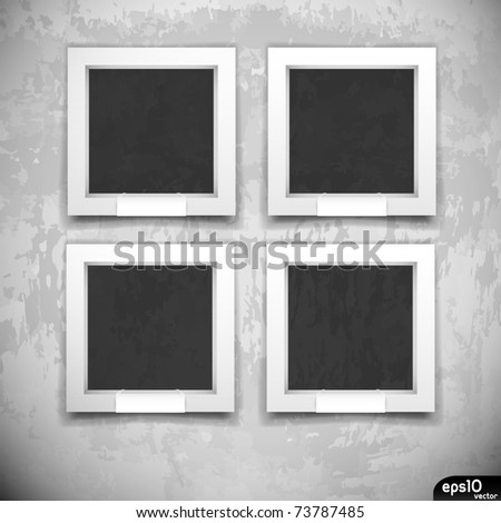 Empty frames on grunge wall (museum or gallery Interior)