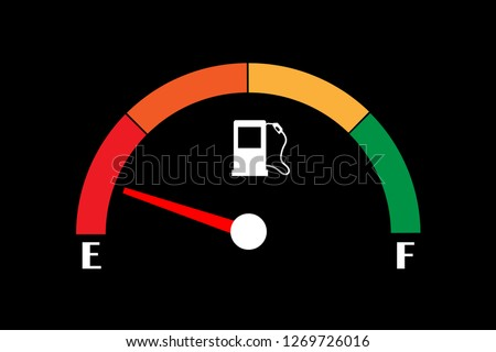 Empty fuel meter isolated on black background. Gas tank gauge. Oil level bar. Vector illustration flat design.