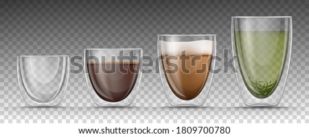 Empty, full double walled glasses of different sizes on transparent background. 3d realistic glass cups set with hot drinks - isolated black espresso, cappuccino or latte with foam and green tea.