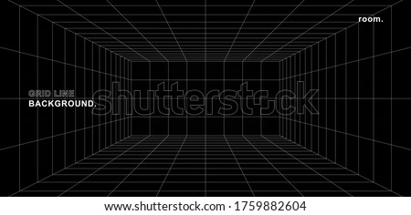 Empty futuristic digital box room grey-black background with white grid space line color surface. Network cyber technology. banner, cover, terrain, sci-fi, wireframe, and related to background.