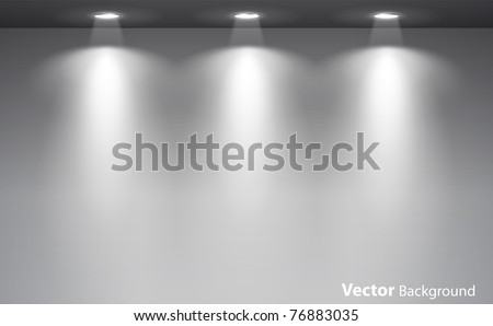 Empty gallery wall with lights for images and advertisement. Fully editable eps10