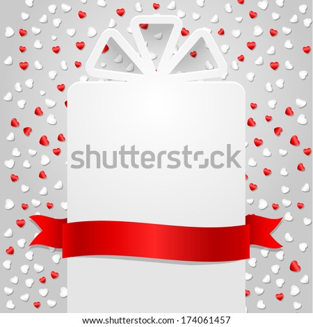 Empty gift box with ribbon and confetti in shape of hearts. Vector illustration.