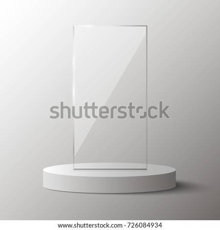 Empty glass award isolated, transparent trophy template. Vector element, eps10
