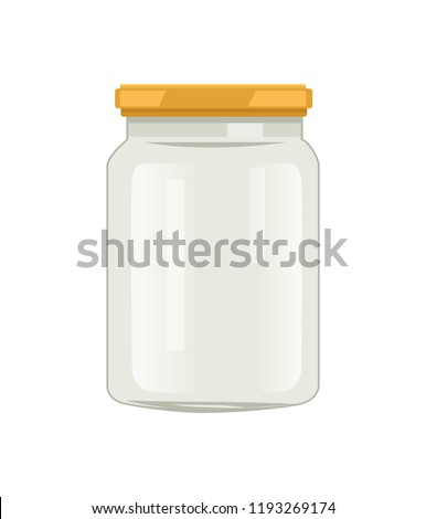 Empty glass jar with screw-cap vector illustration isolated. Big caddy for home preserved food. Empty container, canned pack, kitchenware utensil