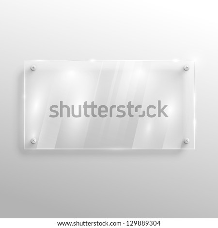 Empty glass on wall, vector