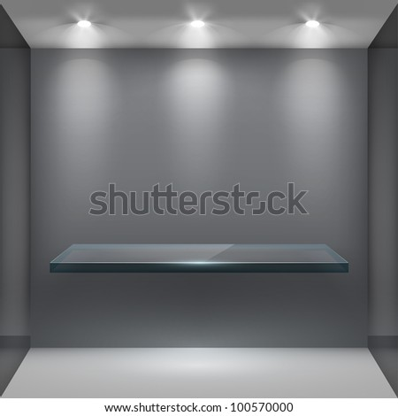 Empty glass shelf in room, illuminated by searchlights. Part of set. Vector interior.