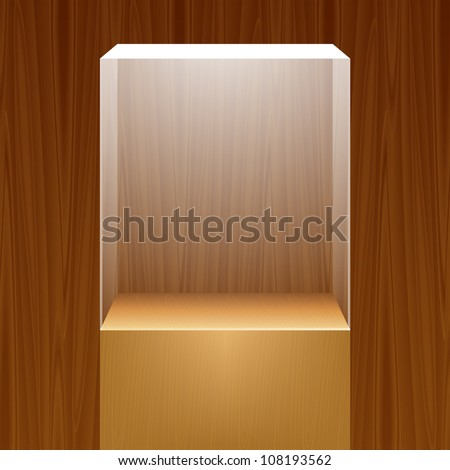 Empty glass showcase for exhibit on wooden background. Vector illustration.