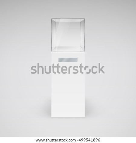 Empty Glass Showcase in Cube Form for Presentation on White