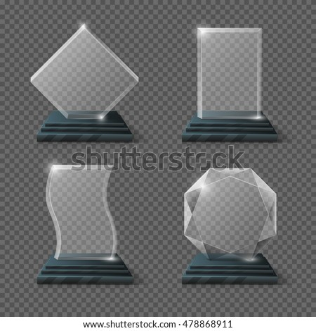 Empty glass trophy awards vector set. Glossy transparent trophy for award illustration