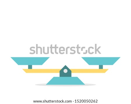 Empty gold and turquoise blue vintage seesaw weight scales isolated on white. Balance, comparison, equilibrium, trade, exchange concept. Flat design. Vector illustration, no transparency, no gradients