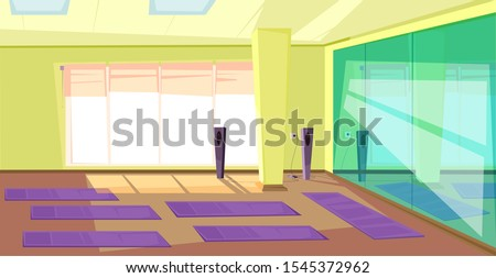Empty gym flat illustration. Cartoon fitness club modern interior design. Room with nobody inside. composition. Yoga mats on floor. Music player equipment, mirror and window in contemporary gym