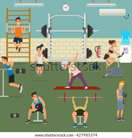 empty gym with exercise equipment. People engaged in the modern gym. vector. people pick up a dumbbell in the gym. women do cardio in the gym loads. a gym with exercise equipment. open gym. fun gym