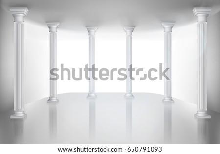 empty hall with column vector