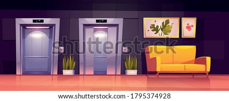 Empty hallway interior with open elevator doors, yellow sofa and plants. Vector cartoon illustration of luxury office lobby, hotel hall or waiting area with lift and couch