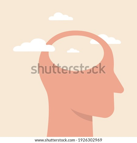 Empty head icon. illustration of stupid, foolish and empty-headed person. Head silhouette with white clouds as a concept for positive thinking. Vector illustration. Сток-фото ©