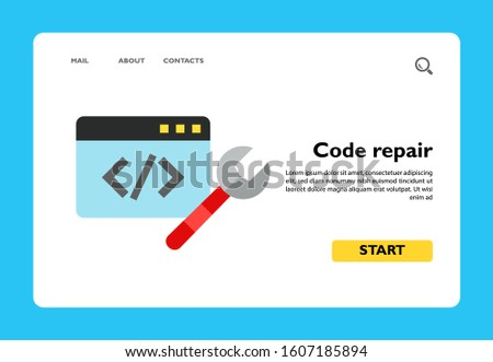 Empty HTML-code on blue screen with a spanner. Website reconstruction, website development, website bug. Web programming concept. Can be used for topics like Internet, programming, technology