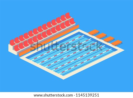 Empty indoor swimming pool isolated vector icon. Separated tracks for sportsmen, starting blocks for diving, places for spectators, cartoon emblem