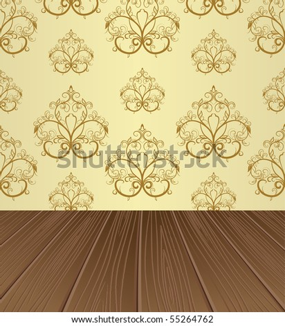 Empty interior for projects. Wooden structure. Vector illustration