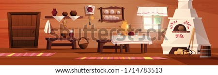 Empty interior of the Russian hut. Ancient Russian kitchen with stove, pots, bench, rug, broom, grip, window with curtain, carpet, samovar, tablecloth. Vector cartoon illustration.
