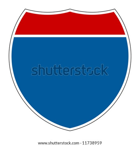 Empty Interstate Sign on white background - stock vector