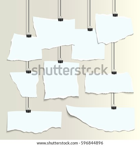 Empty isolated white realistic  pieces of paper with ripped edges and clips. Vector illustration. Mock up.