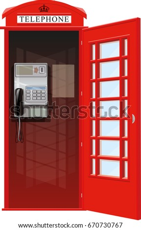 Empty London red classic telephone booth with an open door