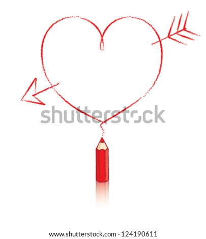 Empty Love Heart Message Drawn by Small Red Pencil with Reflection