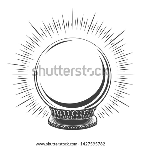 Empty magic globe. Hand drawn merry christmas snow boll, traditional winter decoration snowglobe sketch vector illustration